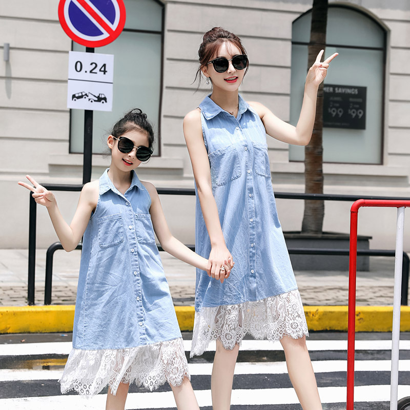 Hot Sale Sleeveless Denim Lace Patchwork Dreses Mother& Daughter Baby Girl Clothes Vestido