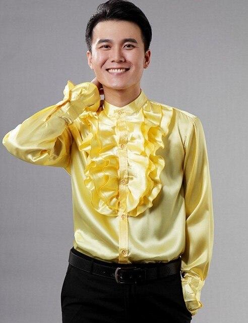 Складки рубашка на заказ любые цвета как атласная свадьба жених рубашки для жениха Slik для мужчин CS12