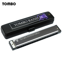 Tremolo Tombo Band Harmonica 24 Hole 48 Tone Blues Harp Mouth Organ Key of C ABS Resin Brass Reed Musical Instruments Tombo 3124
