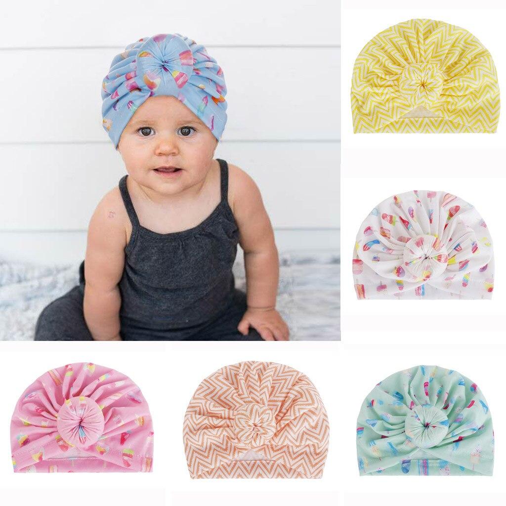 Baby  Hat  2019 Unisex Fashion Newborn Baby Girls Boys Printed Knot Hemming Beanie Hat Cap