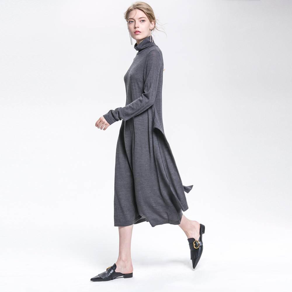 knitted dress sweater dress autumn winter wool dress 2017 new warm stretch dress gray blue red