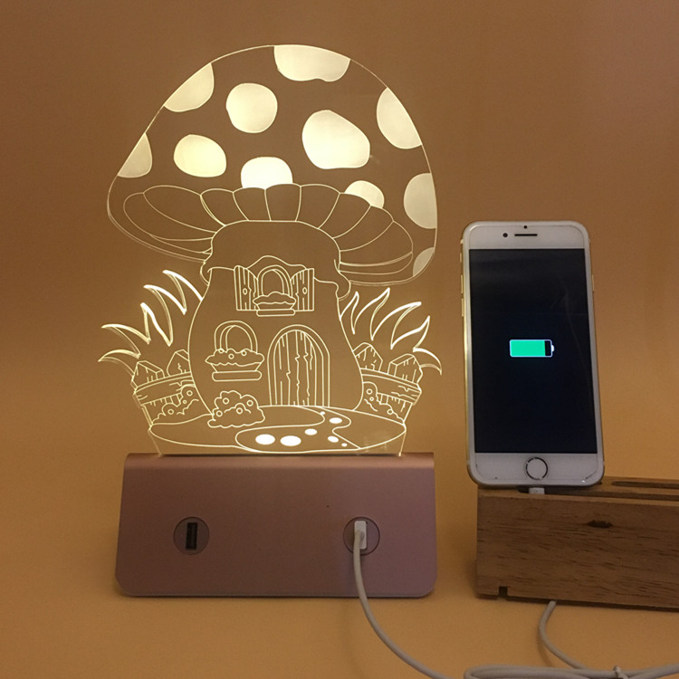 LED Night light Powe bank Mushroom house 3D visual Creative acrylic menu card LED billboard Table Desk Lamp Decoration lamp three dimensional 3d visual reading lights wood acrylic clear small lamp button type led stereo night light folding book lights