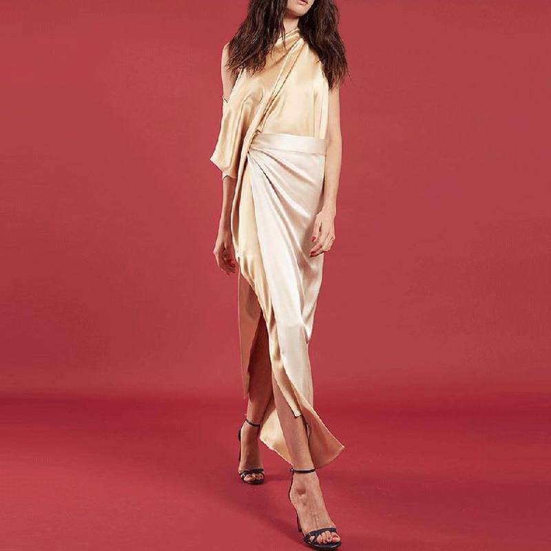 Plus Size Women One shoulder Long Dress Elegant Female Split Party Dress Sexy Ladies Silk Imitation Summer Dress Vestidos