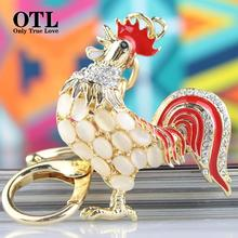 Opals Cock Rooster Chicken Lovely Crystal Keyrings Keychains Rhinestone Bag Pendant Key chains Christmas Gift Jewelry Llaveros