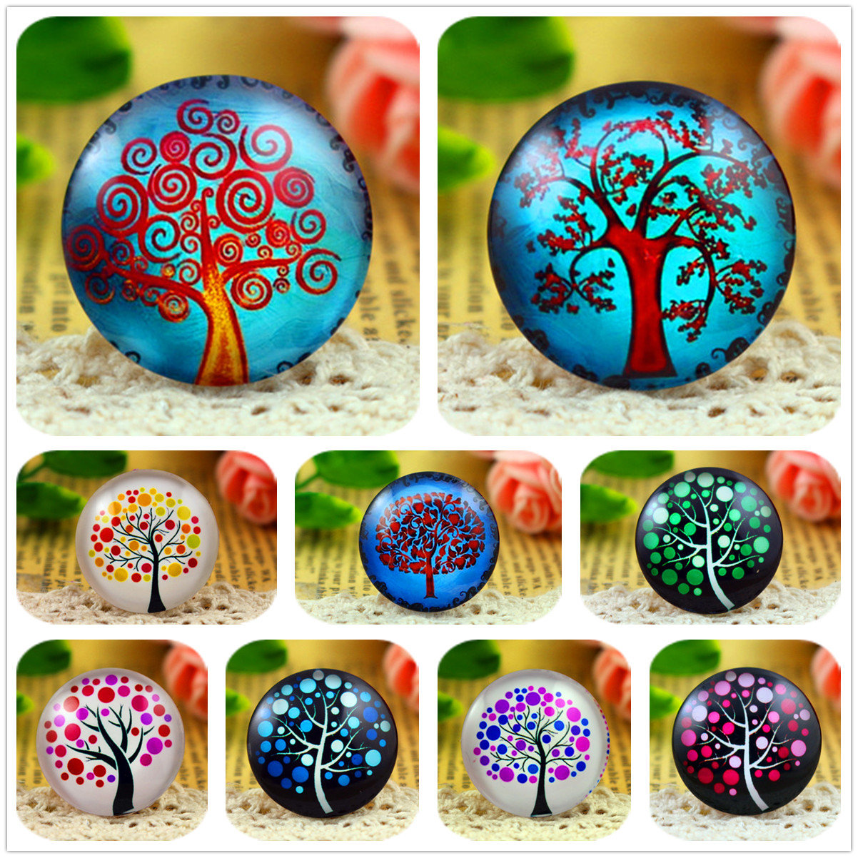New Fashion  5pcs/Lot 25mm Handmade ColorsTree Photo Glass Cabochons