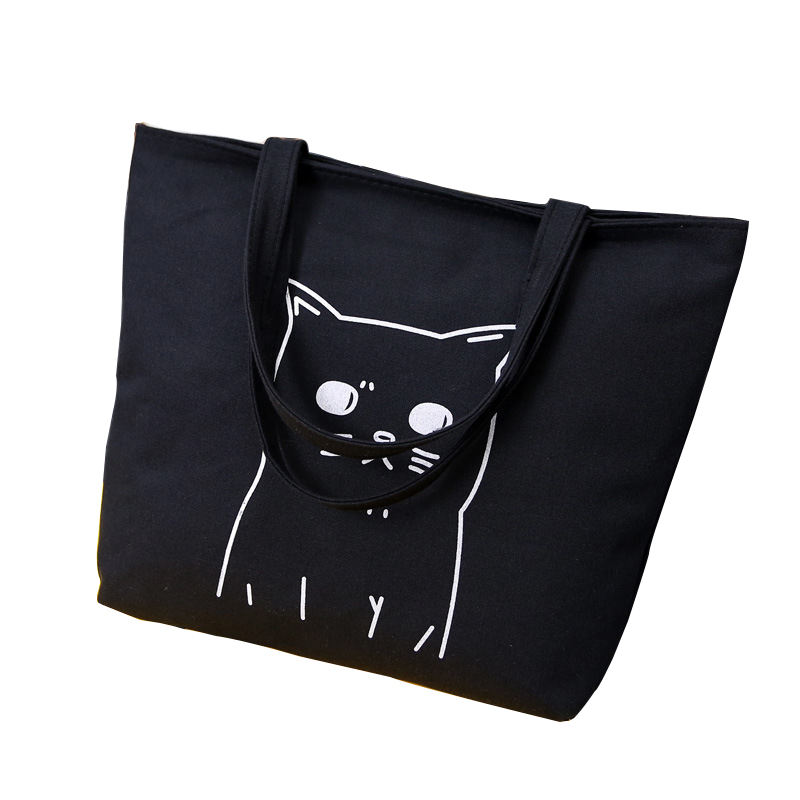 Cartoon Cats Printed Shopping Cat Tote Bag Canvas Woman Bags 2017 Bag Handbag Fashion Handbags Portable Student Bookbag Hand Bag