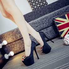New 14cm high heels with fine shoes Nightclub 16cm fish head shoes Sexy black women 's waterproof high – heeled shoes