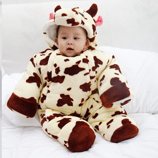 Baby Bodysuits Long Sleeve Warm Fleece Baby Jumpsuit Cartoon Baby Clothes Winter Baby Girls Boys Bodysuits  DQ032