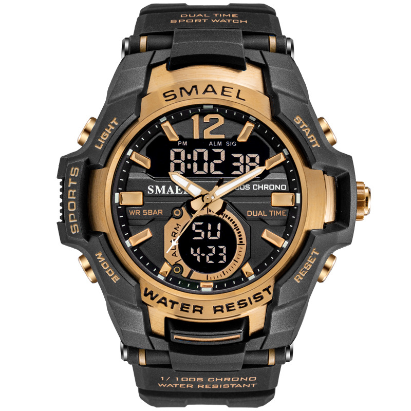 SMAEL Sport Watch Men Fashion Casual Alarm Clock 50M Waterproof Military Chrono Dual Display Wristwatches Relogio Masculino