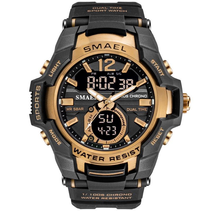 SMAEL Sport Watch Men Fashion Casual Alarm Clock 50M Waterproof Military Chrono Dual Display Wristwatches Relogio Masculino