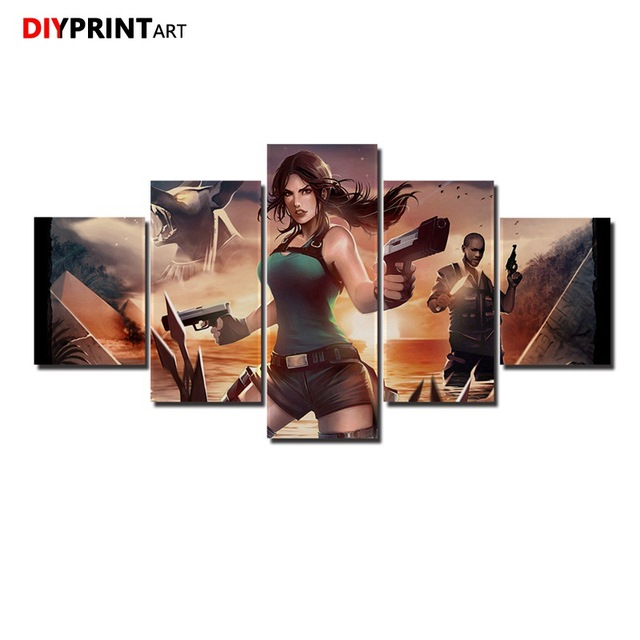 US $7 2 20% OFF|Shorts Lara Croft 5 Panel Fashion Wall Art Game Tomb Raider  Paintings for Living Room Wall A1087-in Painting & Calligraphy from Home &