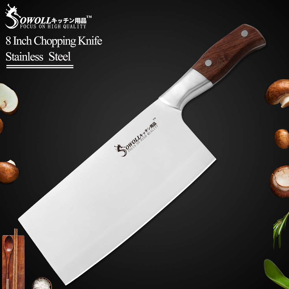 Sowoll Chopping-Knife Cleaver Wood-Handle Bone-Meat Stainless-Steel Brand 8inch Color