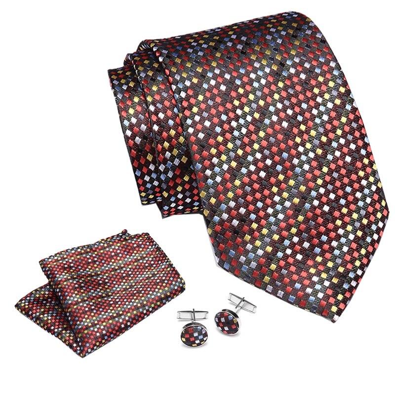 2019 Men s Tie 100 Silk Jacquard Woven Necktie Hanky Cufflinks Sets For Formal Wedding Business Party neck tie suit 7 5cm width in Men 39 s Ties amp Handkerchiefs from Apparel Accessories