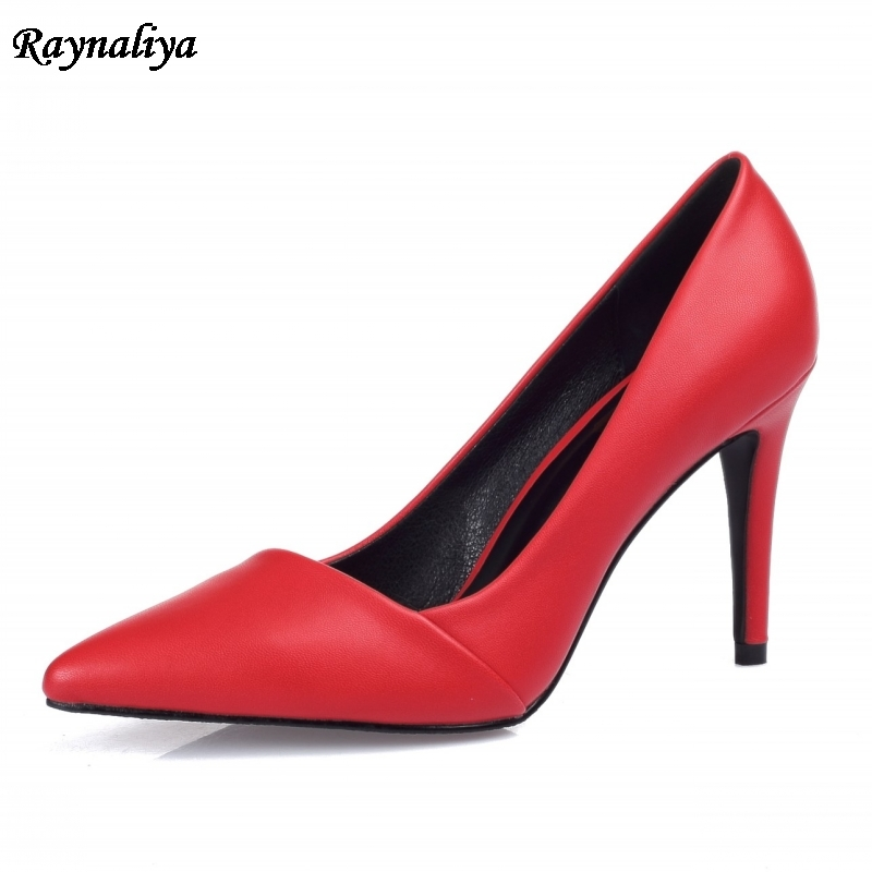 Wedding Dress Shoes Fashion Elegant Thin High Heels Shoes 9cm Solid Women Pumps Office Lady Soft Leather Work Shoes XZL A0014 in Women 39 s Pumps from Shoes