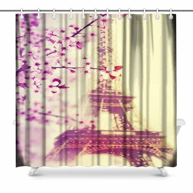 Aplysia Spring In Paris Vintage Look Polyester Fabric Bathroom Shower Curtain Set With Hooks 72 X Inches