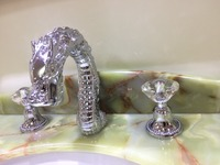 Free Shipping CHROME Color Solid Brass Widespread 8 3 Holes Bathroom Lavatory Sink Faucet Crystal Handles