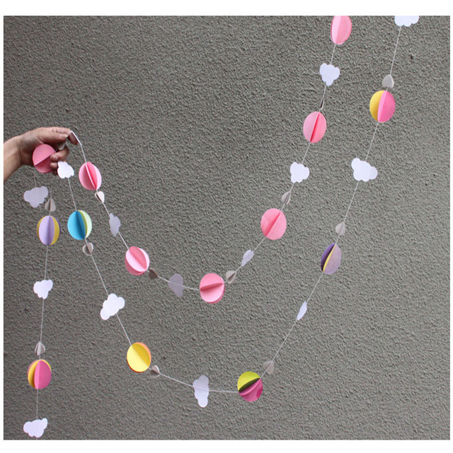 2.7 м круг облака бумажные гирлянды партии Mariage ремесел венки цветы шар гирлянда строки Главная Свадебные украшения Xmas-b