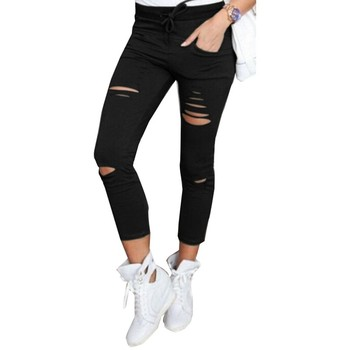 High Waist Pockets Casual Solid Slim Holes Trouser