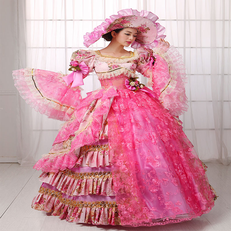 6db88db8794c4 Custom 2016 Hot Pink Floral Marie Antoinette Dress