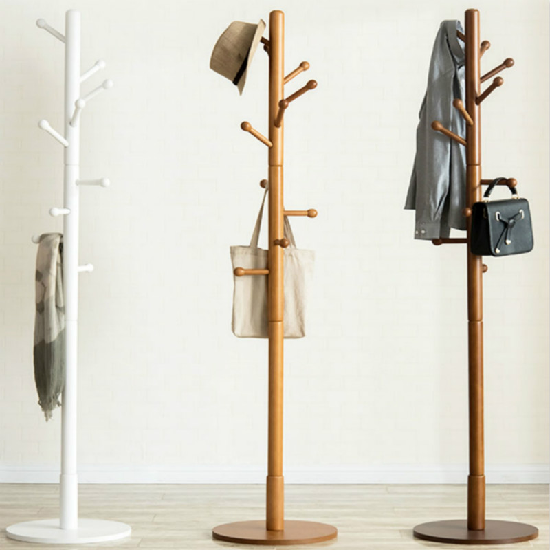 US $72.09 29% OFF|Solid wood coat rack floor rack bedroom clothes rack  simple single pole living room foyer creative hanger-in Coat Racks from ...