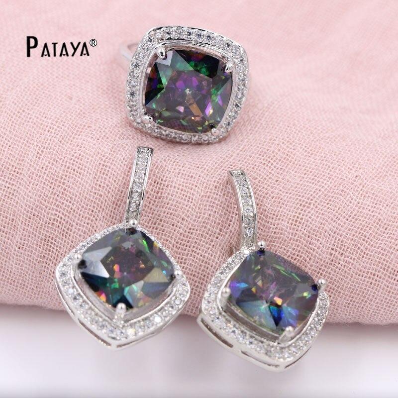 PATAYA Big Rainbow Jewelry Sets Square Natural Zircon Ring Earrings Sets novia boda accesorios Cristal verano estilo joyería