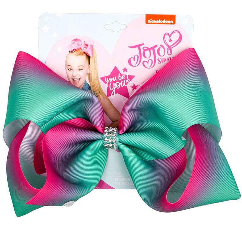 "8"" JoJo Bows Hair Clip Large Hair Bow Kids Handmade Metalic Printed Ribbon Knot Jumbo JOJO SIWA Hair Accessories For Girl(China)"