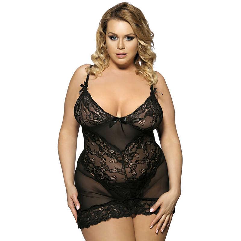 bbadd435438 Sexy Lingerie 5XL 7XL Plus Size Women Lingerie With Dress + G string  Transparent Lace Floral