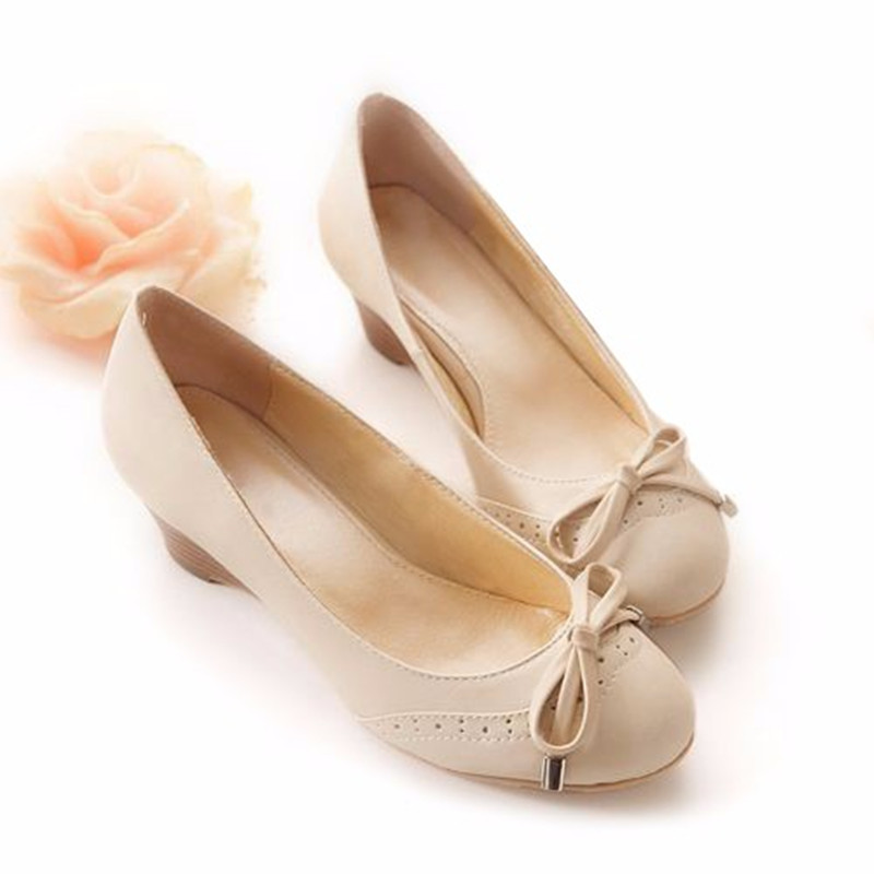 fab7cfe83db6c Ladies Big size(4 15)hand made Cheap Sweet Bow customized genuine leather  Wood Grain Thick Wedges high heels shoes Women pumps-in Women's Pumps from  Shoes ...