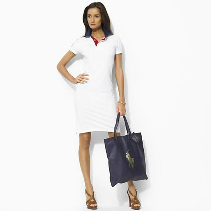 2016 women polo dress slim short sleeve dress ladies