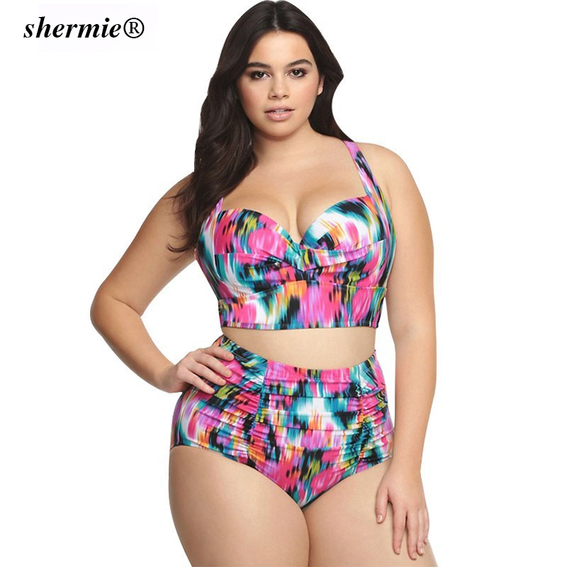 2018 Plus Size L-5XL Cross Bandage Printed Swimwear Women Floral High Waist Swimsuit All Fitness Bathing Suit Split 2 Pieces