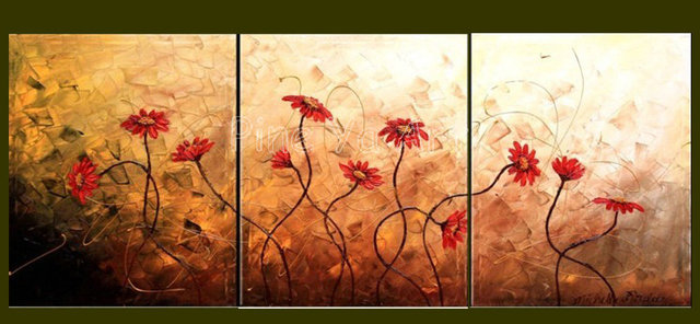 3 piece abstract wall art cheap modern hand painted blue floral oil ...