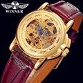 ПОБЕДИТЕЛЬ Мужчины Женщины Luxury Brand Золотой Скелет Кожа Повседневная Часы Автоматические Механические Наручные Часы Коробка Подарка Relogio Releges