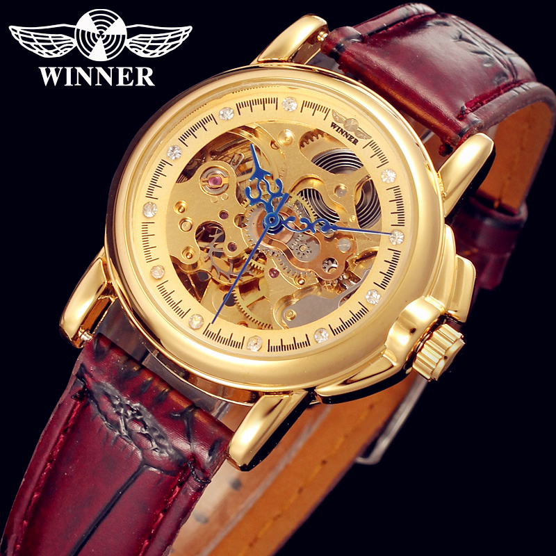 WINNER Men Women Luxury Brand Golden  Skeleton Leather Casual Watch Automatic Mechanical Wristwatches Gift Box Relogio Releges winner brand men luxury see through skeleton stainless steel watch mechanical hand wind wristwatches gift box relogio releges