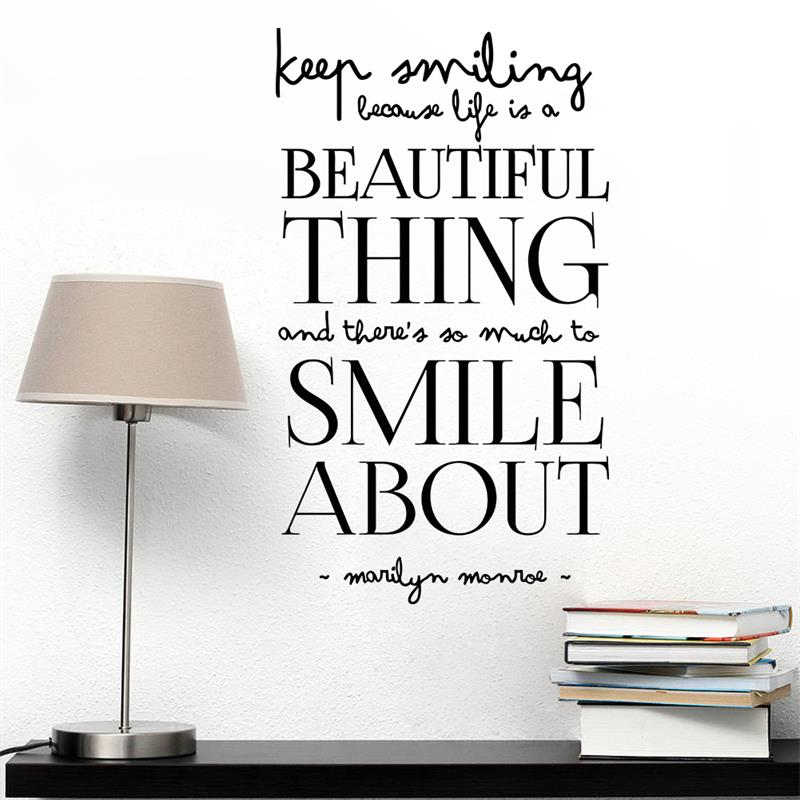 Keep Smiling Life Is Beautiful Wall Stickers Family Vinyl Removable