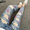 2016 Ripped jeans for Women high waist Jeans Blue Denim Pants boyfriend jeans for women Denim Shorts Street Brand Plus Size 4XL