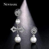 NEWBARK Imitation Pearls Bowknot Drop Earrings For Women Asymmetric Copper Trendy Earrings Bridal Best Luxury Wedding Jewerly