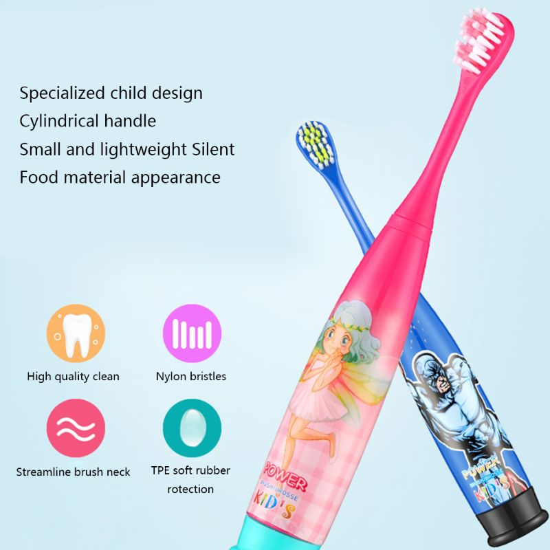 Children Electric Toothbrush Sonic Vibrator Battery Powered Waterproof IPX7 Home Travel image