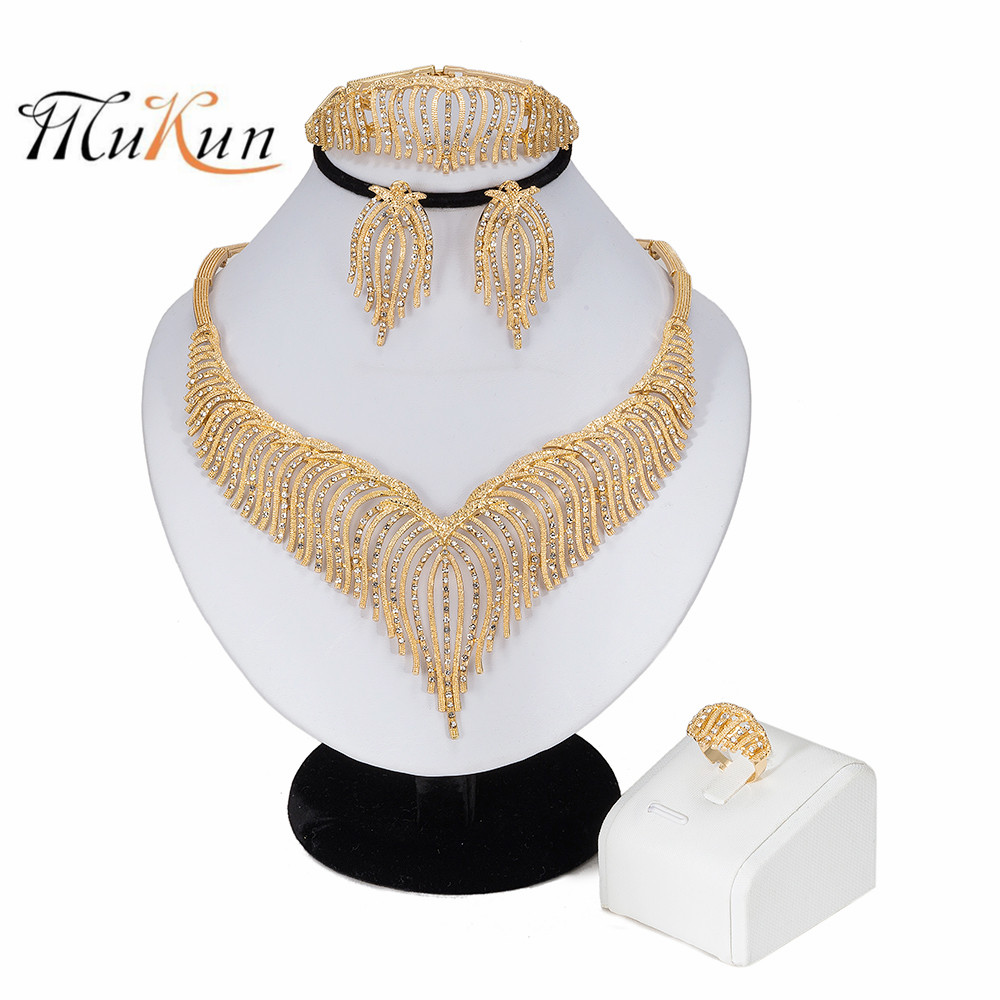 Exquisite Dubai Jewelry Set Luxury Gold Color Big  Wedding African Beads DI