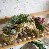 Cute Resin Artificial Twisted Driftwood Toot Plants Flower Pot Succulent Pot Multilayer Garden Succulent Planter Flowerpot Decor