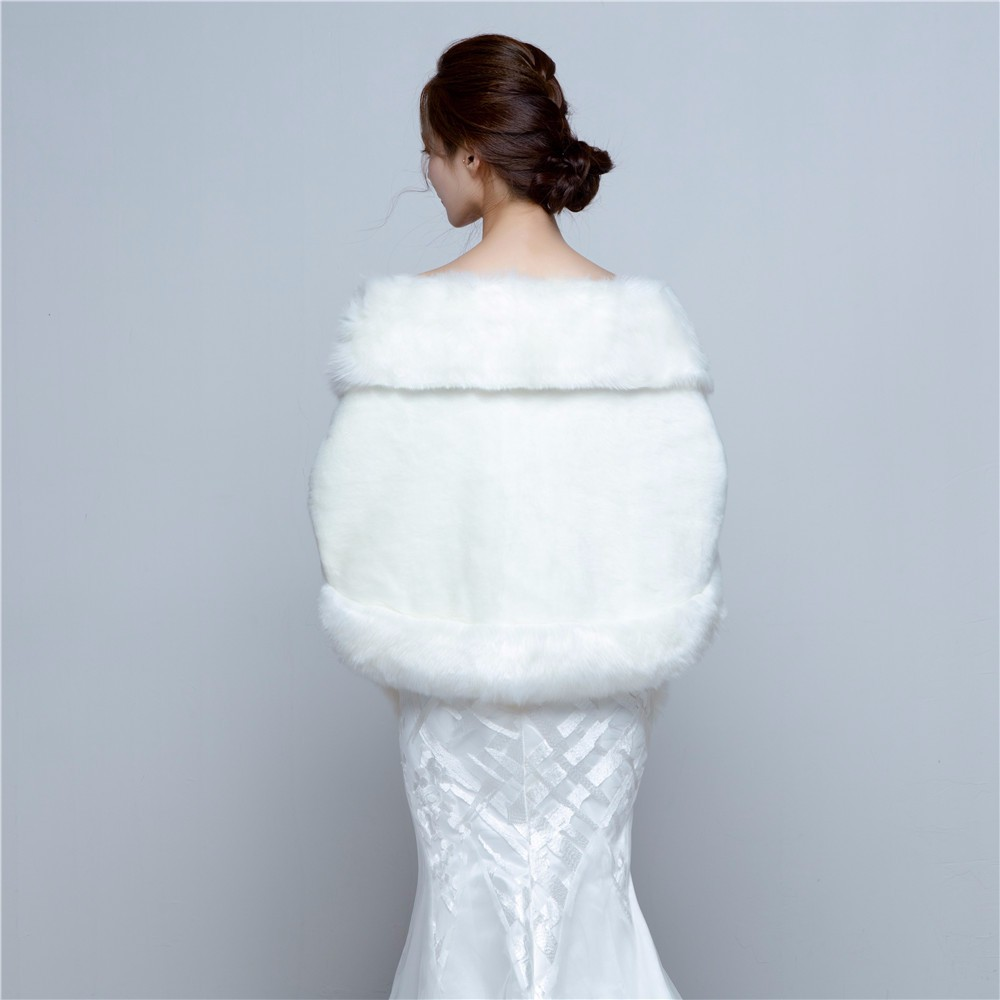 2018 Wedding Bolero Jacket Womens Faux Fur Coat Ivory Winter Jackets ...