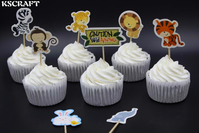 KSCRAFT Wild Animal Party cupcake toppers picks decoration for kids ...