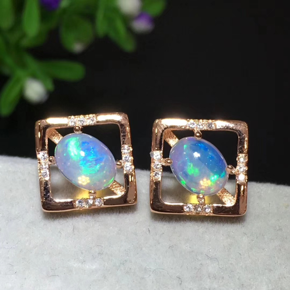Natural Multicolor opal stud earrings 925 silver natural gemstone fashion Square frame earrings women party Earrings jewelry pair of exquisite opal embellished square decorated earrings