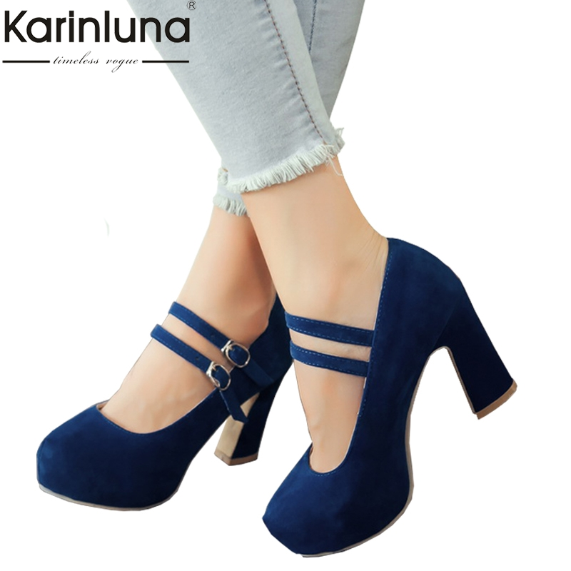 KAIRNLUNA Large size 34-43 mary janes women shoes woman high heels elegant buckle strap office lady party wedding pumpsKAIRNLUNA Large size 34-43 mary janes women shoes woman high heels elegant buckle strap office lady party wedding pumps