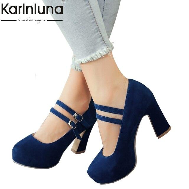 KAIRNLUNA di Grandi dimensioni 34-43 mary janes donne scarpe da donna tacchi alti elegante fibbia della cinghia della signora dell'ufficio del partito da sposa pompe