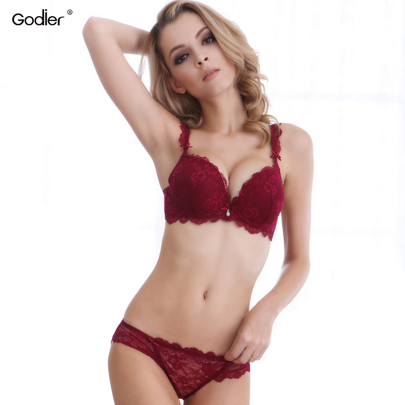 Godier Sexy ABC Embroidery Women   Bra     Set   Lace Plus Sizes   Bra     Brief     Set   Push Up Panty Underwear   Set   gorge sexy Brassiere Soutient