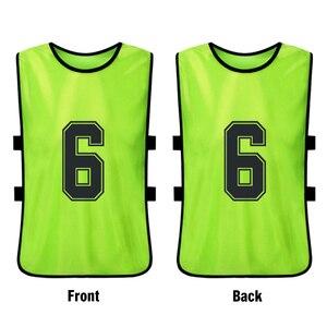 Image 2 - 12 sztuk dorosłych piłka nożna Pinnies szybkoschnący drużyna piłki nożnej koszulki młodzieżowe sportowe Scrimmage drużyna piłki nożnej szkolenia numerowane śliniaki