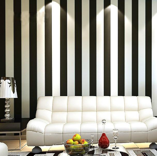 Wallpaper Roll Modern Brief Vertical Black And White