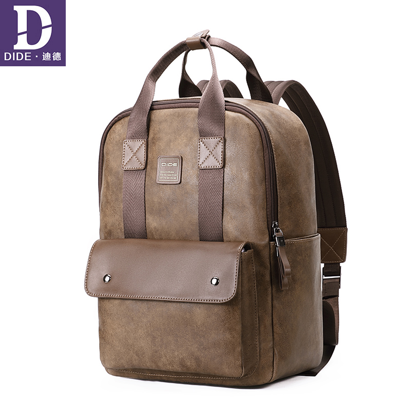 Dide New Brand Designer Men Pu Leather Backpack Male Daypack Multi Pocket Casual Vintage Handmade Tote High Quality