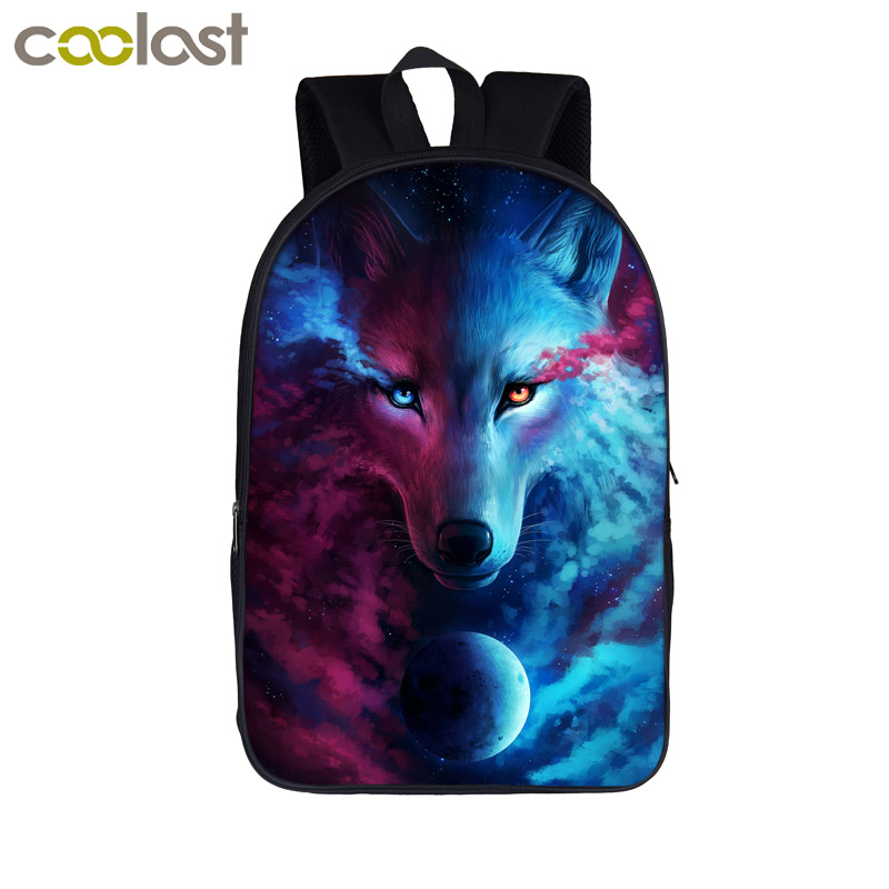 Fantasy Animal Wolf / Lion / Cat Backpack For Teenagers Girls Boys Children School Bags Cartoon School Backpacks Kids Book Bag купить