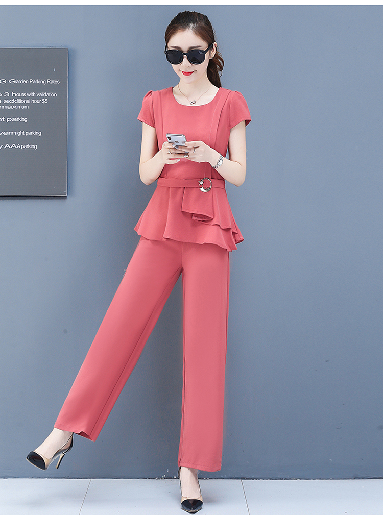 2019 Summer Chiffon 2 Two Piece Sets Outfits Women Plus Size Short Sleeve Tunics Tops And Pants Suits Office Elegant Korean Sets 56
